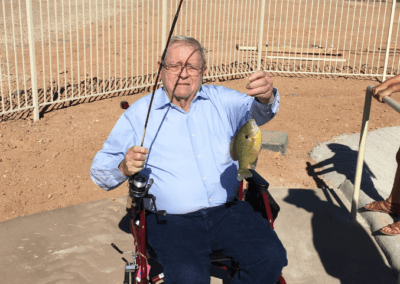 Del Fishing at the Fishing Pond at The Haven at Sky Mountain Assisted Living